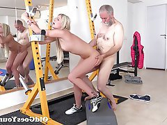 Blonde, Blowjob, Cumshot, Old and Young