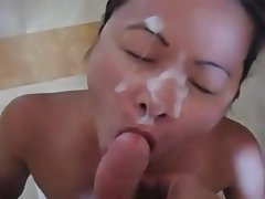 Asian, Blowjob, Close Up, Facial, Interracial