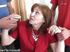 Granny, Mature, MILF, Old and Young, Threesome