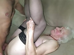 Hairy, Stockings, Granny, Cum in mouth